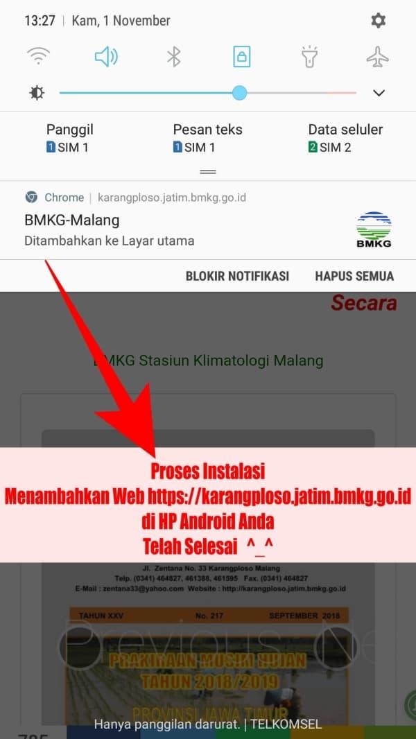 Proses Instalasi Selesai jika ada pemberitahuan BMKG-Malang Ditambahkan ke Layar Utama di notifikasi HP Android Anda