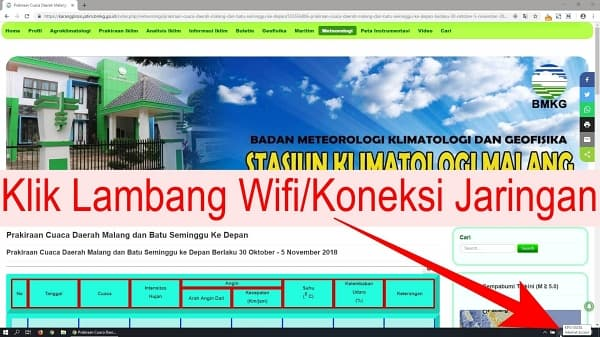 Setelah Halaman selesai dibuka, lalu klik Lambang Wifi / Koneksi Jaringan Pada Taskbar dekat penunjuk waktu