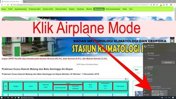 Selanjutnya klik Air Plane Mode