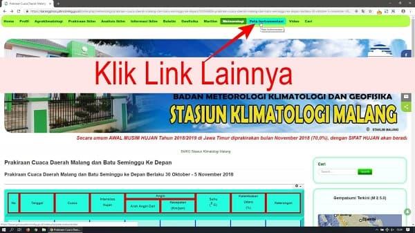 Kemudian klik link lainnya pada halaman tersebut, misalnya link halaman Peta Instrumentasi