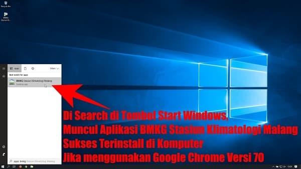 Jika sukses terinstall , ketika anda mengetikkan bmkg di tombol Start Windows 10, akan muncul di hasil pencarian, seperti pada gambar di bawah ini